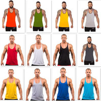 Wholesale Green Men Vest - 100PCS 12 colors Cotton Stringer Bodybuilding Equipment Fitness Gym Tank Top shirt Solid Singlet Y Back Sport clothes Vest D628