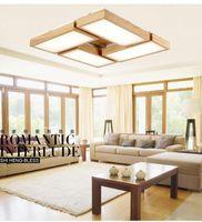 carvalhos venda por atacado-Madeira levou luzes de teto para sala de estar hall de entrada deckenleuchten moderno OAK levou luzes de teto luminárias lâmpada luminaria teto