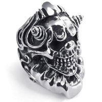 Wholesale Gothic Skull Watches - 073605-Wholesale Cool elegant fashion ring Heavy Large Vintage Stainless Steel Gothic Skull Biker Mens Watch ring US Ring Size: 8-13