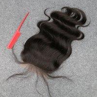 saç kapanış satışı toptan satış-Satışa slove! En Kaliteli 8A Brezilyalı Bakire Saç Vücut Dalga Dantel Kapatma 100% İnsan Saç Brezilyalı Vücut Dantel Kapatma Ağartılmış Knot