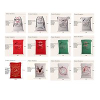 Wholesale Kids Bags Sale - Hot sale New 12 styles Large cotton Canvas Christmas Gifts bags for kid Christmas Santa Claus Reindeers Drawstring Bag Sack Bags