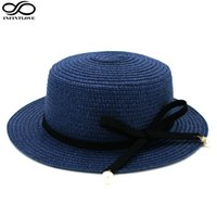 Wholesale Top Hat Beads - Wholesale- IFINITLOVE Women Boater Hat Straw Hat Party Wedding Beach Flat Top Caps Acrylic Beads Wool Band (One Size:58cm)