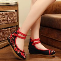 Wholesale Traditional Fabric - Chinese Traditional Beijing Shoes Retro Phoenix Pattern Womens Fashion Casual Soft shoes 217 Fashion New