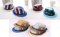 Wholesale Kids Fedora Ears - 9 colors New Fashion Kids Boy Girl Unisex Fedora Hats Cap for Children Contrast Trim Cool Jazz Chapeu Feminino Trilby Sombreros