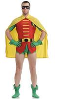 Wholesale Robin Costume Women - Adult Robin Spandex Costume Full Body Suit Lycra Unitad Spandex Zentai Bodysuit Catsuit