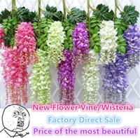 Wholesale Rattan Decor - New Flower Vine Wisteria Wedding Decor 110cm 75cm 6 colors Artificial Decorative Flowers Garlands for Party Wedding Wreaths B0103
