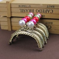 Wholesale Metal Purse Frame Completed Holes - 10 pcs High Quality 8.5 CM pearl head Metal Purse Frame handle Completed Holes wholesale ,Freeshipping
