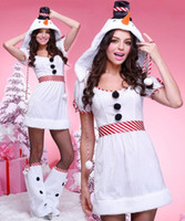 Wholesale Christmas Snowman Costume - Christmas Cosplay For Women Snow White Penguin Suit Snowman Uniform Sexy Halloween Costume Sexy Cosplay Dresses