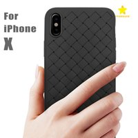 Wholesale Imitation Mobile Phones - For iPhone 8 Plus X Case New Design Braided Phone Case TPU Luxury Striae Imitation Leather Phone Cover for Iphone X Mobile Cellphone