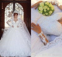 Wholesale High Couture Wedding Dresses - Arabic Gorgeous Ball Gown Wedding Dress 2016 Sexy Sheer Bateau Long Sleeve Lace Applique Beads Tulle Bridal Gowns Walid Shehab Haute Couture
