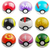 Wholesale Popping Videos - Poke Ball Anime Toys Cartoon Pocket Monsters ABS Action Figures pikachu Ball Cosplay Pop-up DHL Fedex Free