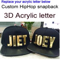 hysteresen acryl buchstaben großhandel-Benutzerdefinierte Snapbacks 3D Acryl Buchstaben PU Leder flache Visier Hüte Großhandel einstellbare Acryl Hip Hop Cap