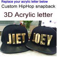 snapbacks letras acrílicas venda por atacado-Chapéus acrílicos feitos sob encomenda da viseira do couro do plutônio das letras do Snapbacks 3D feitos por atacado tampão acrílico ajustável de Hip Hop
