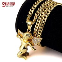 Wholesale Gold Plate Boys Chain - 2016 Fashion Jewelry Gold Plated Cupid Chain Angel Pendant Necklace Hip Hop for men swag Punk Micro Boy Angel Piece With Gift