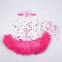 Wholesale Dress Shoes For Little Girls - Baby Girl's 3pcs 1st Birthday Crown Tutu Dress Headband Shoes for 12M Little Kids Clothing Sets