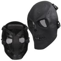 schädelmasken militär groihandel-NHBR Airsoft Maske Totenkopf Vollschutzmaske Militär - Schwarz