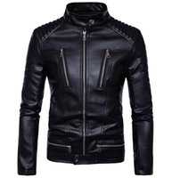 Wholesale Inclined Zipper Jacket - PU Leather Jacket More Incline Zipper Pockets Striped Design Organ Shoulder Brief Style Black Stand Collar Man Motorcycle Jakcets Free Ship
