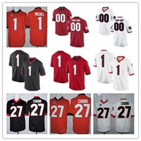 Wholesale Custom Rugby - Custom Georgia Bulldogs UGA 11 Jake Fromm 1 Sony Michel College Limited Football Stitched Red White Black Jerseys
