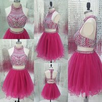 Wholesale Homecoming Sweet Sixteen Dress - Sparkly Two Piece Homecoming Dresses Vintage Fuchsia Beading Short Sweet Sixteen Juniors Ball Gowns Cheap Party Weddings Guest Dress