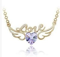 Wholesale beaded necklaces online - LOVE wings heart necklace Beautiflu Hollow Love Wing Angel Necklaces Fashion Crystal Silver Plated Chain Jewelry Romantic