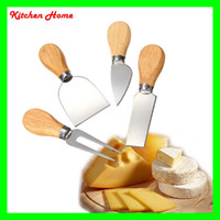 Wholesale Wood Handle Kitchen Knife Set - 4 Pcs Cheese Knife Set with OAK Wood Handle Stainless Steel Cheese Slicer Cheese Cutter Knives Kitchen cooking tools set