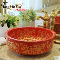 Wholesale China Artistic Europe Style Counter Top porcelain wash basin bathroom sinks ceramic art painted ceramic bathroom red flower