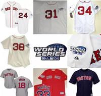 Wholesale White Sox Baseball Jersey Xl - World Series Jersey Mens Boston Red Sox David Ortiz Curt Schilling Manny Ramirez Pedro Martinez Johnny Damon Jason Varitek Derek Lowe
