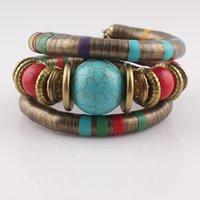 Wholesale Antique Bangle Bracelets - Retro style Antique Bronze Snake Bracelet Inlay Turquoise Beads Alloy Unisex Bracelet Adjustable Bangle B460