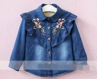 abrigo largo de invierno para niñas al por mayor-2017 invierno nueva moda chica abrigo bordado falbala gruesa manga larga Denim Coat niños ropa 2-8Y