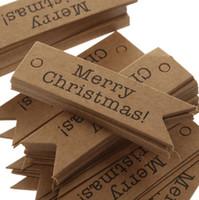 dekorative geschenkanhänger großhandel-Großhandel 500 stücke Dekorative Frohe Weihnachten Papier Geschenk Tags Label Hängende Karten DIY Home Party Dekorationen Weihnachten Zubehör