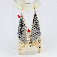 Wholesale Sequins Earrings - Korean Vintage sequins triangle exaggerated super flash nightclub bar all-match Earrings