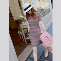 Wholesale Cheapest Sweater Dresses - New Casual women Cheapest Dresses Autumn Models Wild Striped Short-sleeved Dress And Long Sections Sweater As The Picture