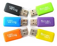 Wholesale Usb Flash Drive China - 20PCS LOT Portable USB 2.0 Adapter Micro SD SDHC Memory Card Reader Writer Flash Drive