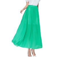 Wholesale Double Layer Chiffon Skirt - S5Q Women Casual Loose Double Layer Chiffon Long Skirt Elastic Waist Pleated Dress AAAFXA