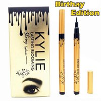 Wholesale Eyeliner Tubes - hot sale NEW makeup KYLIE gold birthay edition tube liquid eyeliner pencil lasting blooming gold box Long-Lasting free shipping