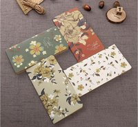 Wholesale school sketch book resale online - Vintage European kraft paper notebook carton printed flower design notes pads children student school blank drawing sketch notepads book