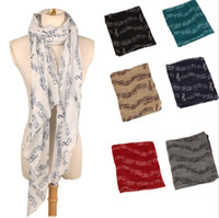 Wholesale Ladies Neck Scarfs Wholesale - Ladies Musical Note Neck Womens Long Scarf Wrap Shawl Stole Muffler Scarves musical notation scarf shawl LJJK743