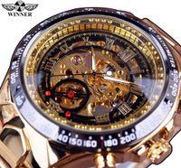 новые стильные наручные часы оптовых-Победитель Новая Мода Золотые Часы Стильный Стальной Мужчины Мужские Часы Классический Механический Self Ветер Запястье Платье Скелет Часы Подарок