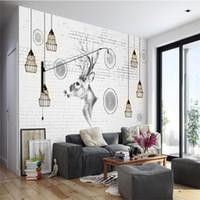 tela para pintar árboles al por mayor-Extraordinario 3d Nordic Elk Trees Wallpaper Mural Simple Living Room Dormitorio TV Background Wallpaper Arte pintado a mano Paño de pared
