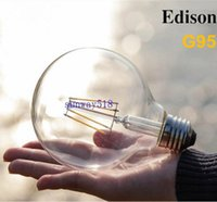 Wholesale Clear Globe Led - Dimmable G95 Big Global light bulb 4W 6W 8W filament led bulb E27 E26 clear glass Edison indoor lighting lamp AC110v-220V Free Shipping