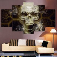 Wholesale personalized picture canvas - Home Decoration Wall Art 5 Panel Skull Painting Abstract Art Canvas Unframed Painting Poster HD Pictures Personalized Gift