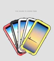 alüminyum nota telefon çantası toptan satış-Metal + Silikon Kılıf Samsung Galaxy Not 8 Vaka Aşk Mei Güçlü Darbeye Alüminyum Kasa Kapak Telefon Kılıfları Kapakları