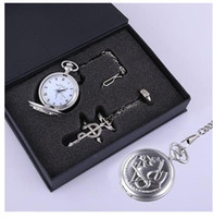 Wholesale Fullmetal Alchemist Necklace - Fullmetal Alchemist Snake Silver Pocket Watch Ring Necklace Cosplay 3pcs Set New