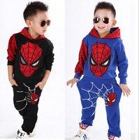 Wholesale Leopard Top Boys - Spring children's clothing for boys Spiderman Cartoon Children sweater top+pant suit
