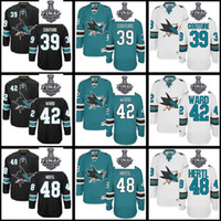 Wholesale 48 Sharks Jersey - San Jose Sharks 39 Logan Couture 42 Joel Ward 48 Tomas Hertl Men  Women  Youth Black White Green Custom Jerseys 2016 Stanley Cup Final patch
