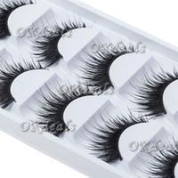 chicote de olhos para mulher negra venda por atacado-Atacado-5 pares de mulheres senhoras maquiagem grosso pestanas postiças cílios longos preto nautral artesanal ferramentas de maquiagem de beleza