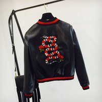 Wholesale Painted Jacket Leather - 2018 autumn clothes new embroidered coat PU embroidery snake motorcycle flying leather jacket Baseball Jacket girl teen coat