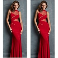 Wholesale Satin Dressing Gowns Women China - Sexy Lady China Red Long Sheath Formal Evening Dressess 2016 Illusion Dresses Evening Wear Hot Fashion Women Floor Length Evening Prom Gowns