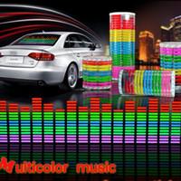 Wholesale Car Led Music Equalizer - Free Shipping Sound Music Activated EL Sheet Car Sticker   Equalizer Glow EL LED Flash Light Blue Multicolor