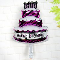 Wholesale Inflatable Baby Shower Decorations - 50pcs lot Mini Cake Party Foil Balloons Birthday Cake Air Balls Happy Birthday Decorations Inflatable Baby Shower Ballons